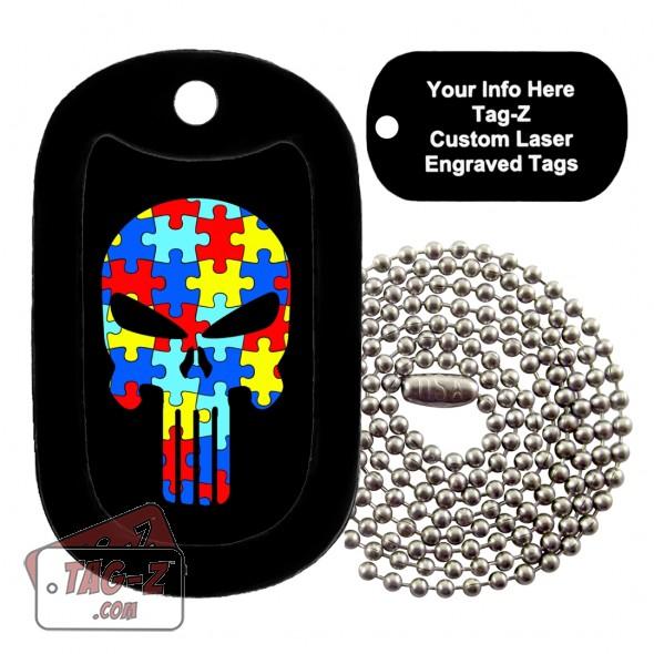 AUTISM EVIL SKULL Custom ENGRAVED Necklace Tag-Z