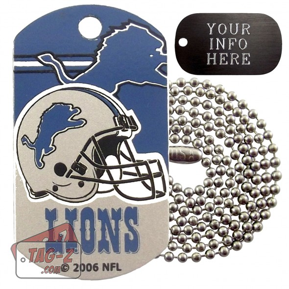 Detroit Lions NFL Military Dog Tag Necklace