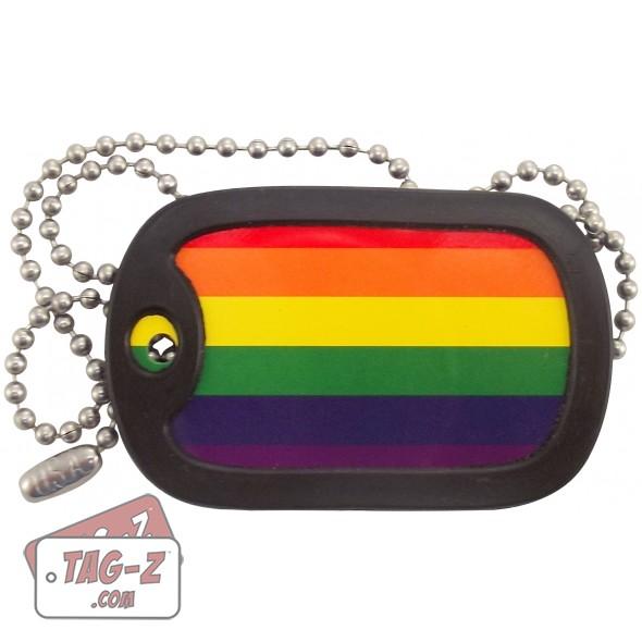 Tag-Z Gay Pride Flag Dog Tag Necklace