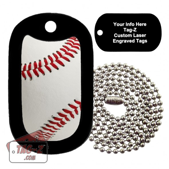 Real Baseball Custom ENGRAVED Necklace Tag-Z