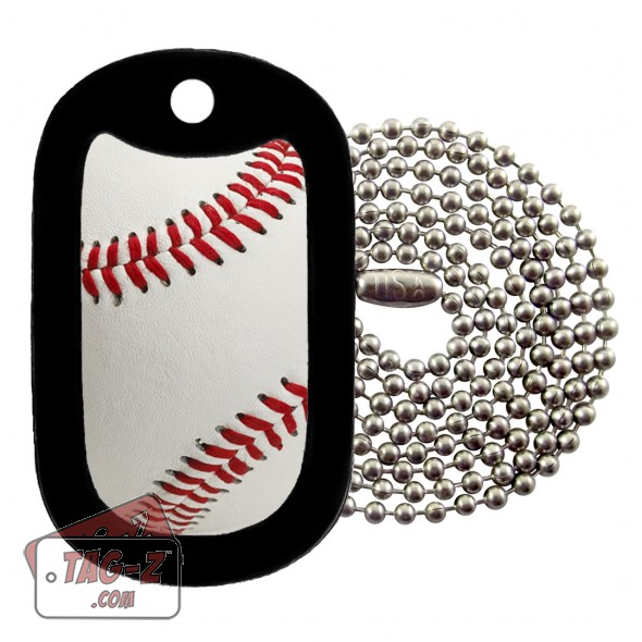 Real Baseball Dog Tag Necklace