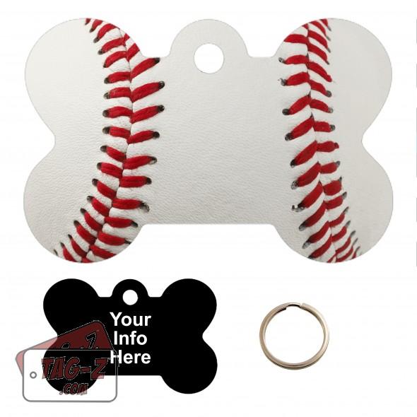 Real Baseball Custom ENGRAVED Pet Tag Tag-Z - Bone Shape