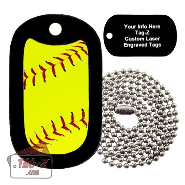 Softball Custom ENGRAVED Necklace Tag-Z
