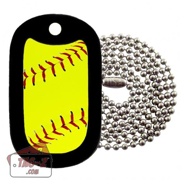 Softball Dog Tag Necklace