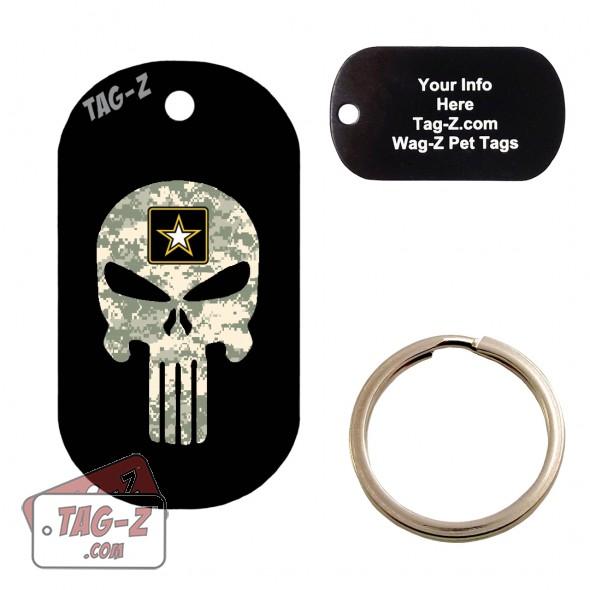 US Army ACu Camo Evil Skull Custom ENGRAVED Pet Tag Tag-Z