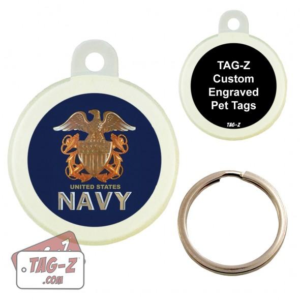 Tag-Z US NAVY Logo Custom ENGRAVED Pet Tag Circle
