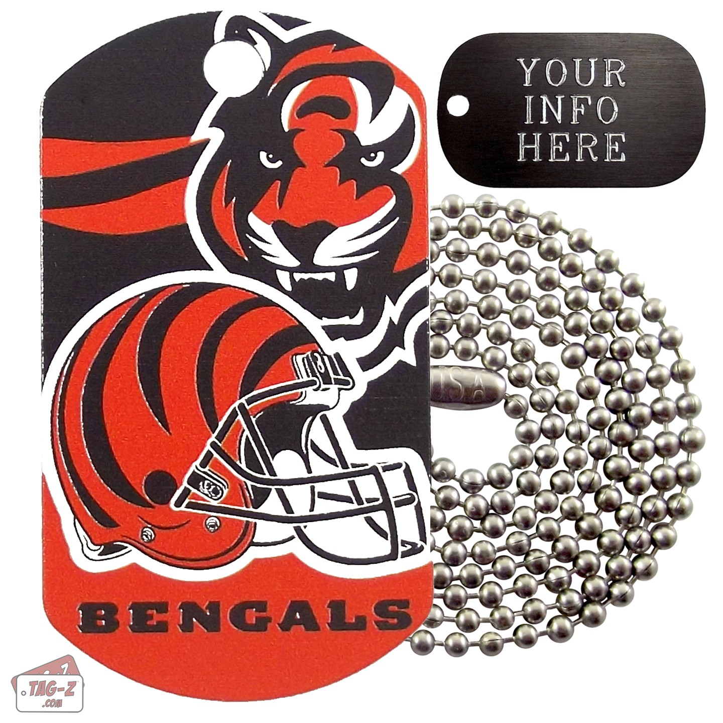 Nice Cincinnati Bengals NFL Military Dog Tag Necklace  free shipping