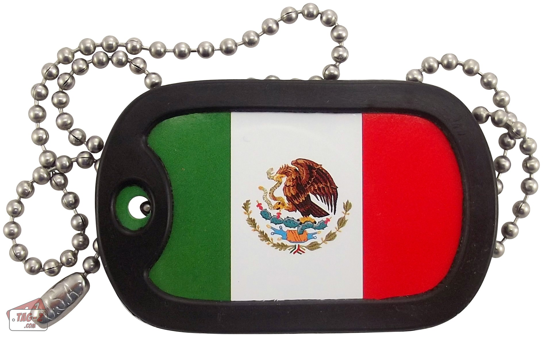 z mexican flag dog tag necklace