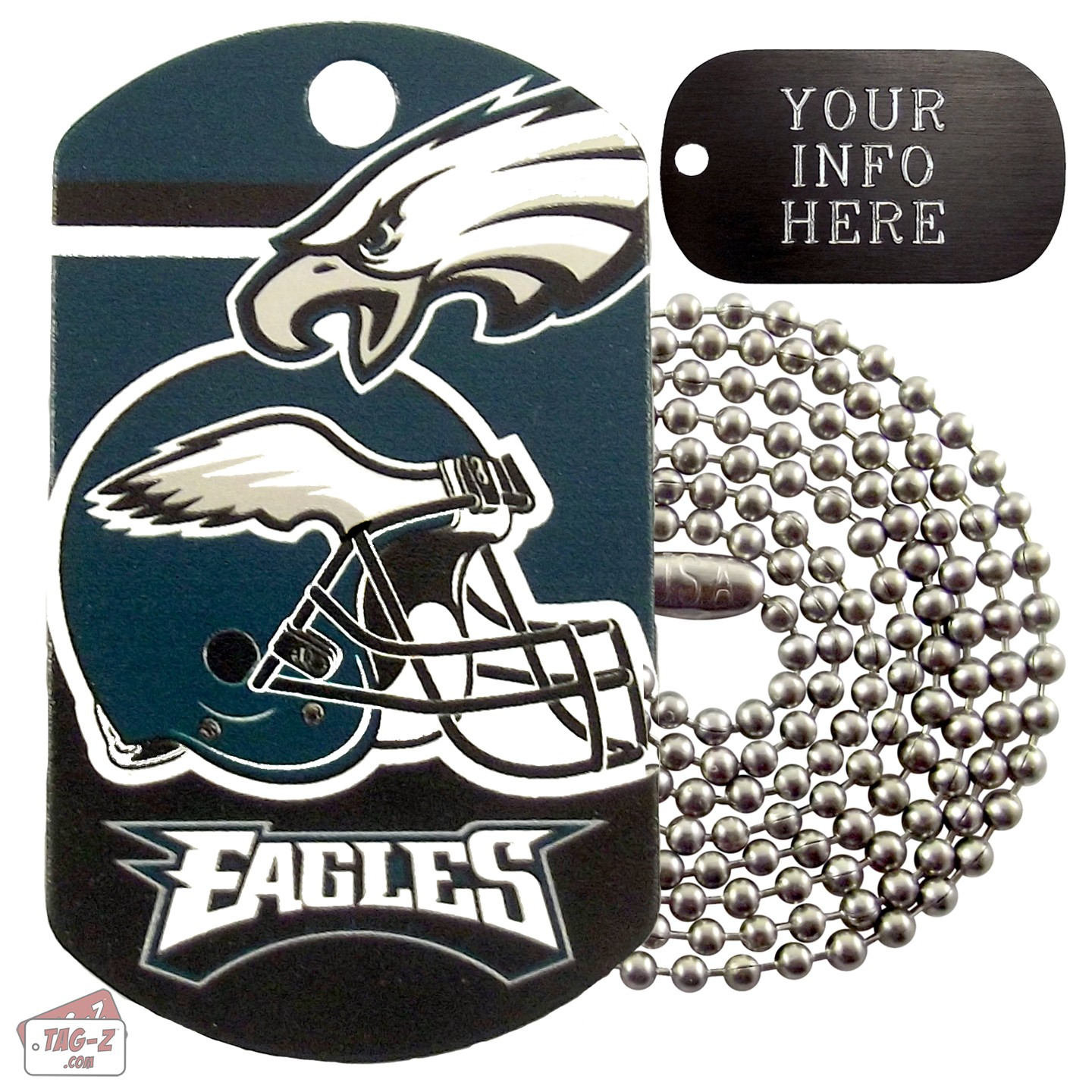 brand new 2a099 cc459 Philadelphia Eagles NFL Military Dog Tag Necklace
