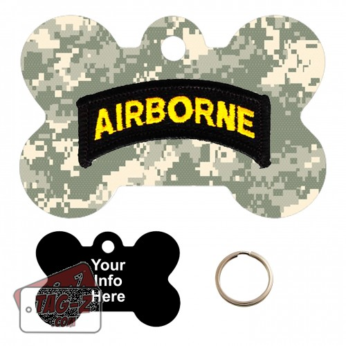 101st  Airborne Division Patch Custom ENGRAVED Pet Tag Tag-Z - Bone Shape