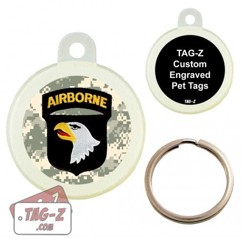 101ST AIRBORNE DIVISION PATCH Custom ENGRAVED Pet Tag Circle Tag-Z