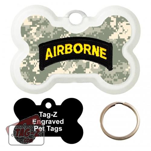 101st  Airborne Division Patch Custom ENGRAVED Pet Tag Tag-Z - Bone Shape