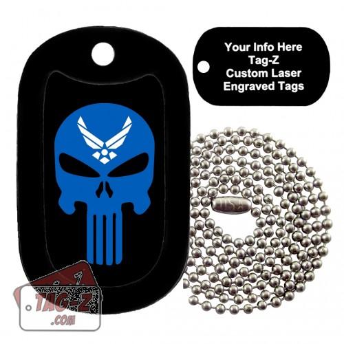 AIR FORCE EVIL SKULL Custom ENGRAVED Necklace Tag-Z