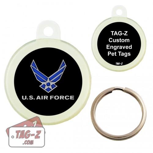 Tag-Z Air Force Logo Custom ENGRAVED Pet Tag Circle