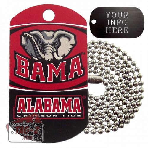 Alabama Crimson Tide NCAA Military Dog Tag Necklace