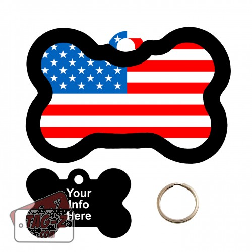 American Flag Bone Shape Pet Tag
