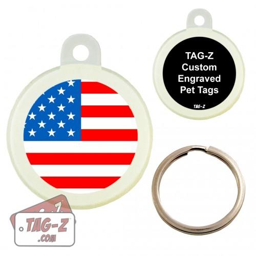 Tag-Z American Flag Custom ENGRAVED Pet Tag Circle