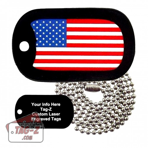 Tag-Z American Flag Custom ENGRAVED Necklace