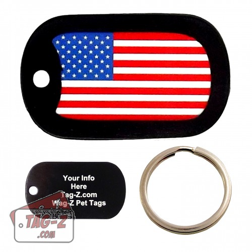 Tag-Z American Flag Custom ENGRAVED Pet Tag