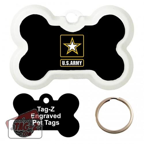 Army Logo Custom ENGRAVED Pet Tag Tag-Z - Bone Shape