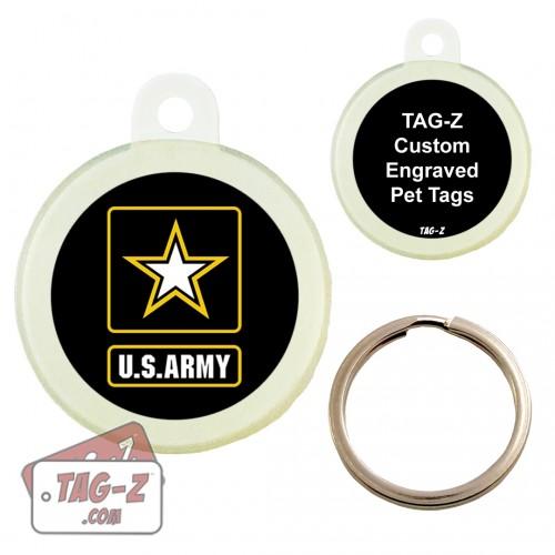 Tag-Z Army Logo Custom ENGRAVED Pet Tag Circle