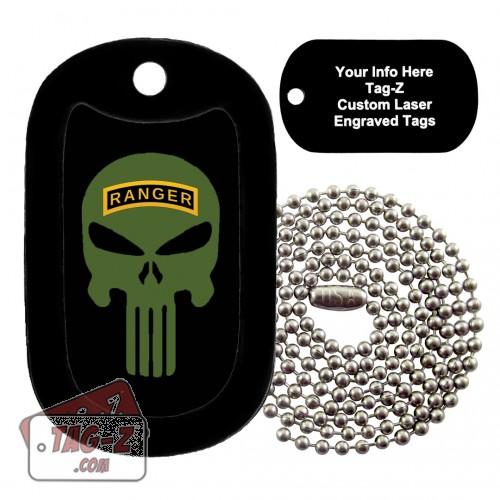 Army Ranger Evil Skull Custom ENGRAVED Necklace Tag-Z