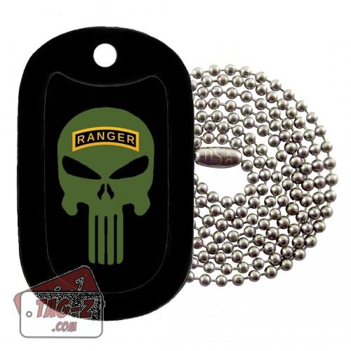 Army Ranger Evil Skull Dog Tag Necklace