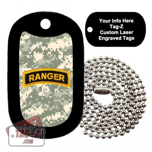 Army Ranger Patch - ACU Camo Custom ENGRAVED Necklace Tag-Z