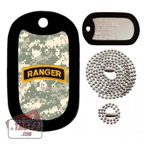 Army Ranger Patch - ACU Camo Dog Tag Full Set Tag-Z