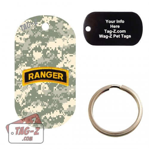 Army Ranger Patch - ACU Camo Custom ENGRAVED Pet Tag Tag-Z