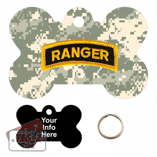Army Ranger Patch - ACU Camo Custom ENGRAVED Pet Tag Tag-Z - Bone Shape