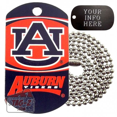 Auburn Tigers NCAA Military Dog Tag Necklace