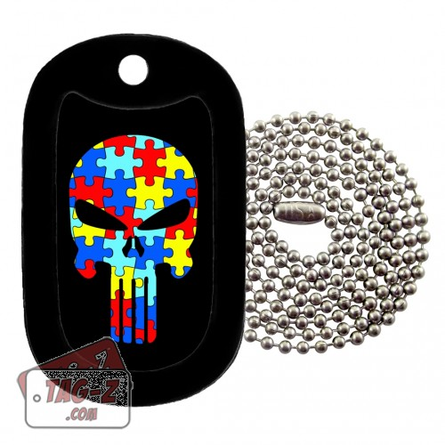 AUTISM EVIL SKULL Dog Tag Necklace