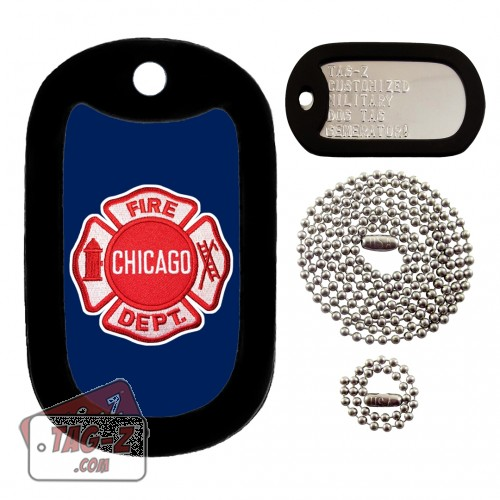 Chicago Firefighter Patch Dog Tag Full Set Tag-Z