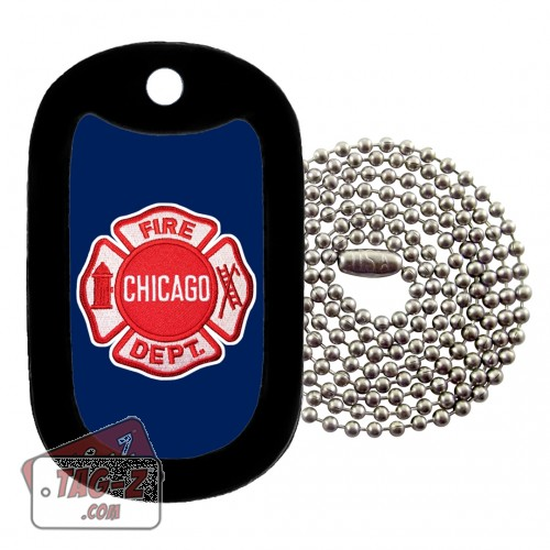 Chicago Firefighter Patch Dog Tag Necklace