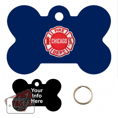 Chicago Firefighter Patch Custom ENGRAVED Pet Tag Tag-Z - Bone Shape