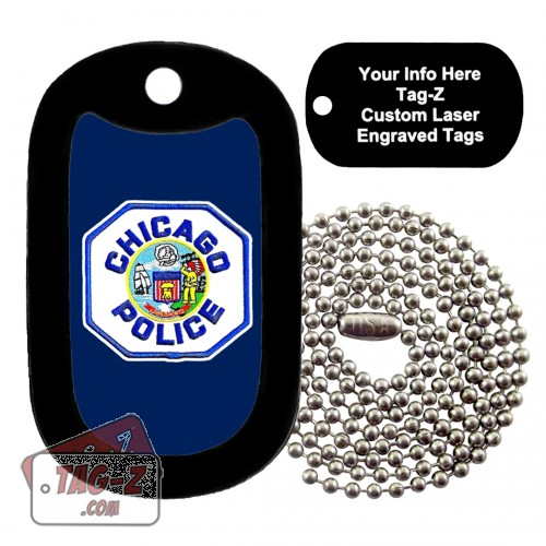 Chicago Police Patch Custom ENGRAVED Necklace Tag-Z