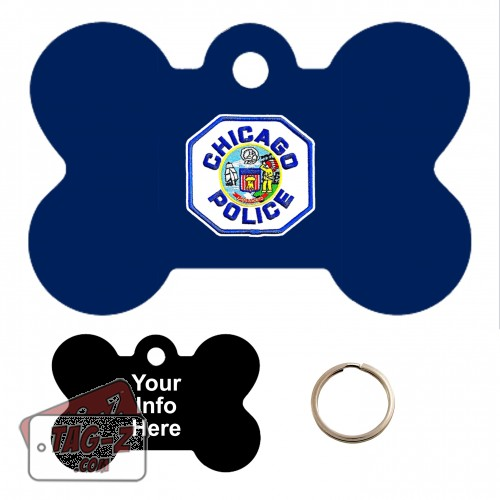 Chicago Police Patch Custom ENGRAVED Pet Tag Tag-Z - Bone Shape
