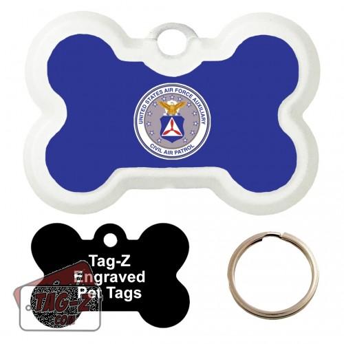 Civil Air Patrol Logo Custom ENGRAVED Pet Tag Tag-Z - Bone Shape