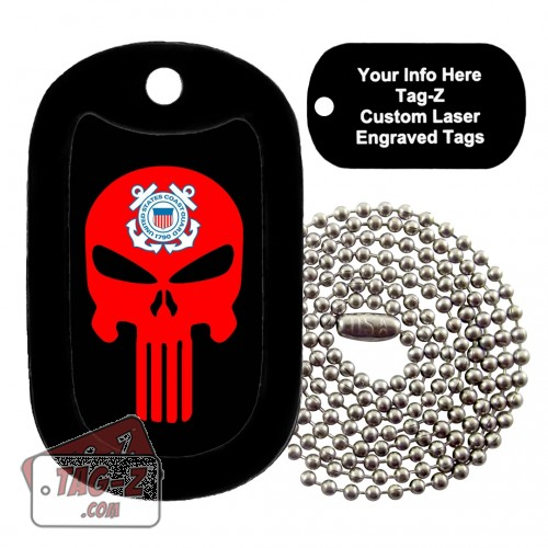 COAST GUARD EVIL SKULL Custom ENGRAVED Necklace Tag-Z