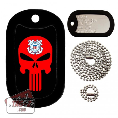 COAST GUARD EVIL SKULL Dog Tag Full Set Tag-Z