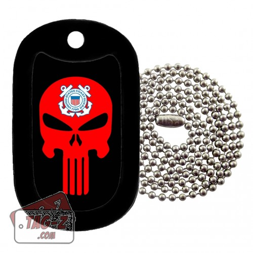 COAST GUARD EVIL SKULL Dog Tag Necklace