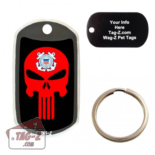 COAST GUARD EVIL SKULL Custom ENGRAVED Pet Tag Tag-Z