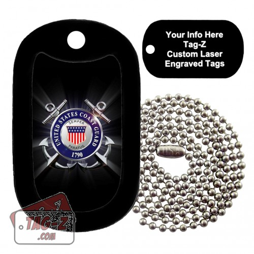 COAST GUARD - BLACK Custom ENGRAVED Necklace Tag-Z