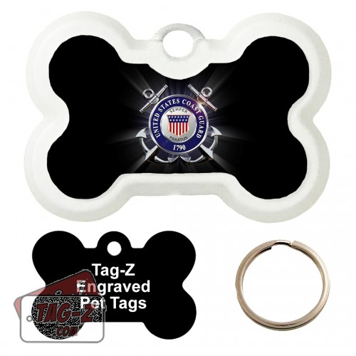 COAST GUARD BLACK Custom ENGRAVED Pet Tag Tag-Z - Bone Shape
