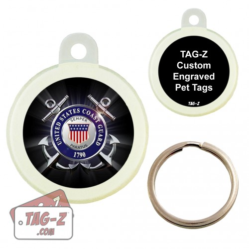 COAST GUARD BLACK Custom ENGRAVED Pet Tag Circle Tag-Z