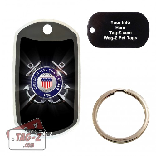 COAST GUARD BLACK Custom ENGRAVED Pet Tag Tag-Z