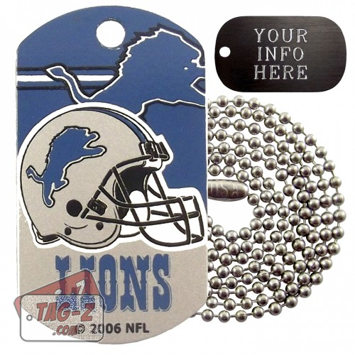 Detroit Lions NFL Military Dog Tag Necklace