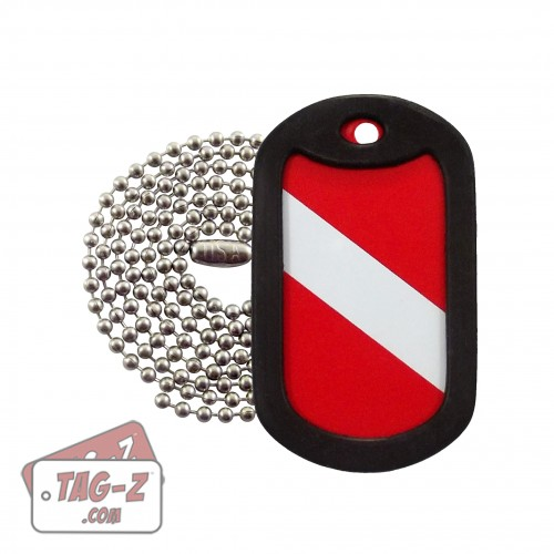 Diver Down Flag Dog Tag Necklace