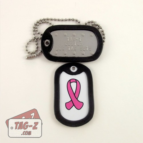 Tag-Z Breast Cancer Awareness Pink Ribbon Dog Tag Set